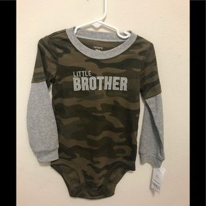 NWT Carters Little Brother Army onesie 24m